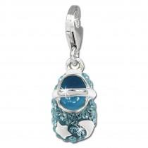 SilberDream Glitzer Charm Babyschuh hellblau Zirkonia Kristalle GSC554H