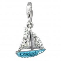 SilberDream Glitzer Charm Segelboot hellblau Zirkonia Kristalle GSC569H