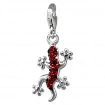 SilberDream Glitzer Charm Gecko rot Zirkonia Kristalle Anhänger GSC571R