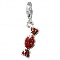SilberDream Glitzer Charm Bonbon rot Zirkonia Kristalle Anhänger GSC576R