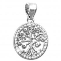 SilberDream Glitzer Anhänger Lebensbaum Zirkonia weiß Damen 925 Silber GSH400W