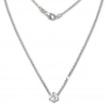 SilberDream Kette Zirkonia Stein weiß 925er Silber 46cm Halskette GSK20046W