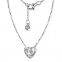 SilberDream Kette Herz Zirkonia weiß 925er Silber 41-44cm Halskette GSK401W