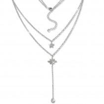 SilberDream Doppelkette Sterne Zirkonia weiß 925 Silber 45-48cm Kette GSK408W