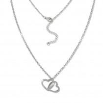 SilberDream Kette Herzen Zirkonia weiß 925 Silber 42-44cm Halskette GSK409W