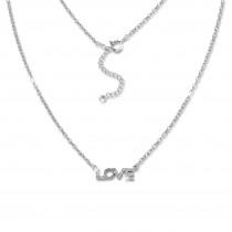 SilberDream Kette LOVE Zirkonia weiß 925 Silber 43-47cm Halskette GSK411W