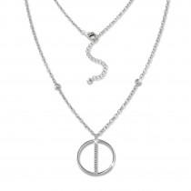 SilberDream Kette Rund Zirkonia weiß 925 Silber 42-45cm Halskette GSK413W
