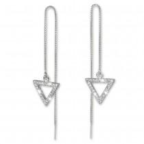 SilberDream Glitzer Ohrhänger Dreieck offen weiß 925er Ohrring Silber GSO433W