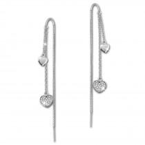 SilberDream Glitzer Ohrhänger Herzen Zirkonia weiß 925er Silber Ohrring GSO439W