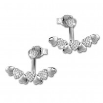 SilberDream Ohrstecker Dangle Ear Cuff Herzen weiß 925 Silber Ohrringe GSO445W