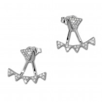 SilberDream Ohrstecker Dangle Ear Cuff Dreiecke weiß 925 Silber Ohrringe GSO446W
