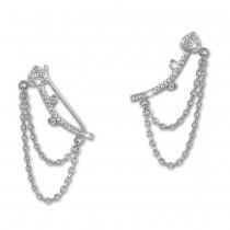 SilberDream Ear Cuff Herz Kettchen Zirkonia Ohrring Ohrklemme 925 Silber GSO454W
