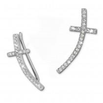 SilberDream Ear Cuff Kreuz Ohrringe Ohrklemme 925 Sterling Silber GSO467W