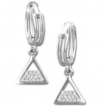 SilberDream Glitzer Creole Dreieck weiß 925er Silber Ohrring GSO482W