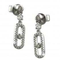 SilberDream Glitzer Ohrhänger Crystal Zirkonia weiß 925 Silber Ohrring GSO487W