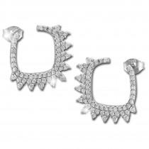SilberDream Glitzer Ohrstecker Fancy weiß 925er Silber Damen Ohrringe GSO488W