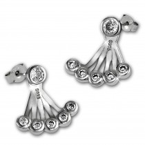 SilberDream Ohrstecker Dangle Ear Cuff Rund Zirkonia 925 Silber Ohrringe GSO500W