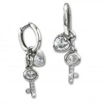 SilberDream Glitzer Creole Schlüssel, Herz Zirkonia 925er Silber Ohrring GSO506W