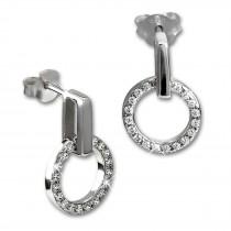 SilberDream Glitzer Ohrstecker Circle Zirkonia weiß 925 Silber Ohrring GSO508W