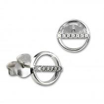 SilberDream Glitzer Ohrstecker Rund Zirkonia weiß 925 Silber Ohrring GSO509W
