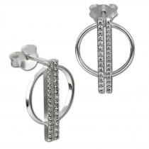 SilberDream Glitzer Ohrstecker Kreis Zirkonia weiß 925 Silber Ohrring GSO511W