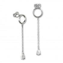 SilberDream Glitzer Ohrstecker hängender Tropfen weiß 925 Silber Ohrring GSO512W