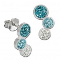SilberDream Ohrstecker drei Kreise hellblau 925er Glitzer Kristalle GSO600H