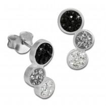 SilberDream Ohrstecker drei Kreise schwarz 925er Glitzer Kristalle GSO600S
