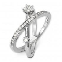 SilberDream Doppel Ring Zirkonia weiß Gr.54 925er Sterling Silber GSR400W54