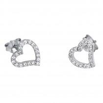 LOTUS Silver - Damen Ohrring Herz weiß mit Ohrstecker aus 925 Silber JLP1519-4-1