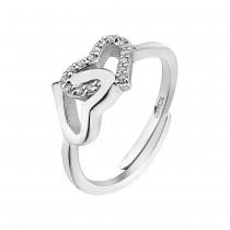 LOTUS Silver - Damen Ring Herzen weiß verstellbaren Ring 925 Silber JLP1594-3-1