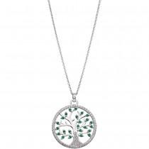 LOTUS Silver - Damen Halskette Lebensbaum grün-weiß aus 925 Silber JLP1895-1-1