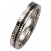 KISMA Schmuck Ring Gr. 54 Edelstahl gl./matt schwarz KIR0127-007-54