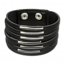 SilberDream Lederarmband schwarz Unisex Leder Armband LAC153S