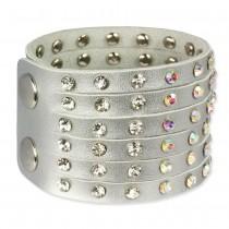 SilberDream Lederarmband silber Zirkonia Damen Leder Armband LAC221K