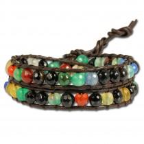 SilberDream Lederarmband farbiger Achat Damen Leder Armband LAN006