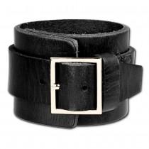 SilberDream Lederarmband schwarz Herren Leder Armband LAP014S