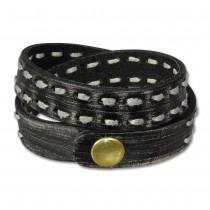 SilberDream Lederarmband Jeansstyle schwarz grau Leder Armband LAP511S