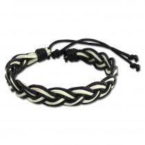 SilberDream Unisex Lederarmband schwarz/weiß Knotenverschluß Armband LAP533S