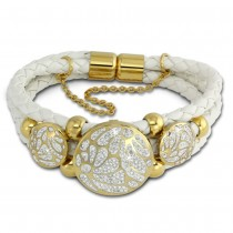 Amello Leder Armband weiß Kreise vergoldet Edelstahl Magnet Verschluss LAQ015W9
