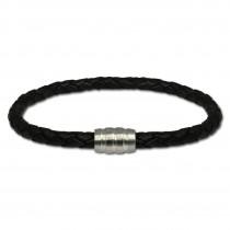 SilberDream Leder Armband schwarz mit Edelstahl Verschluss LS1501