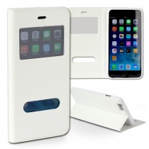Handyhülle iPhone 6 Plus weiß Bookstyle Case Kunstleder DrachenLeder OME101K