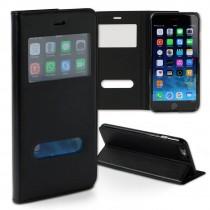 Handyhülle iPhone 6+ 6S+ schwarz Bookstyle Case Kunstleder DrachenLeder OME101S