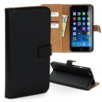 Handyhülle iPhone 6+ 6S+ schwarz Kartenfächer Kunstleder DrachenLeder OME103S