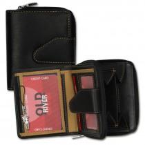 Geldbörse Leder schwarz Portemonnaie Brieftasche klein Old River OPD104N