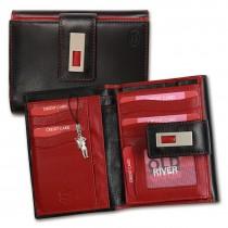 Old River Geldbörse echtes Leder schwarz rot XL Damen Portemonnaie OPD701S