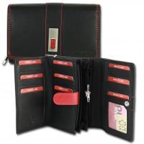 Old River Geldbörse Großes Portemonnaie XL Querformat Leder schwarz OPD702S