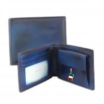 Florence Vintage Portemonnaie echtes Leder Geldbörse blau Brieftasche OPF100B