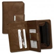 Money Maker Geldbörse echtes Leder braun Portemonnaie Brieftasche Damen OPJ701C