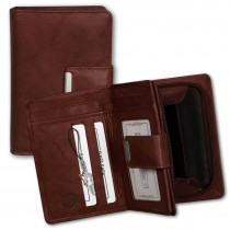 Geldbörse Leder braun Brieftasche Portemonnaie Hochformat Money Maker OPJ701N